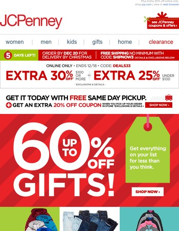 9 shopping days left! Up to 60% off gifts