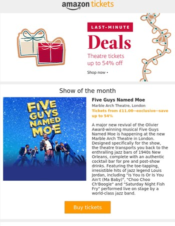 Last minute Christmas deals--save up to 54% on West End and theatre