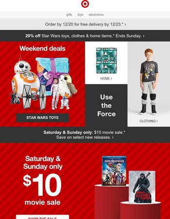 Last day to save 20% on Star Wars toys, clothes & more.