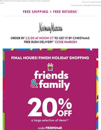 Last chance! 20% off for Friends & Family - easy to shop for gifts