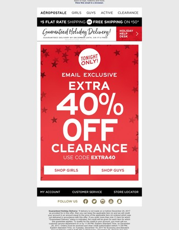 LATE NIGHT SALE: Extra 40% Off Clearance Tonight Only!