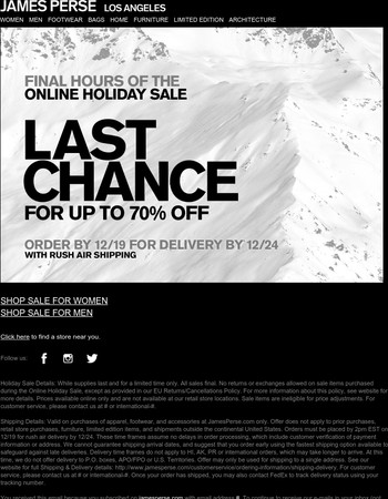 Last Call: Final Hours For Up To 70% Off