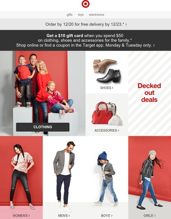 Get a $10 gift card with $50 of clothing, shoes & more.