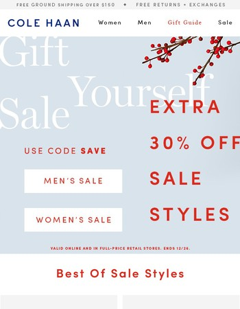 Starts Now! Gift Yourself Sale: Extra 30% Off