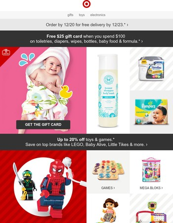 Get a gift card for baby essentials you need anyway.